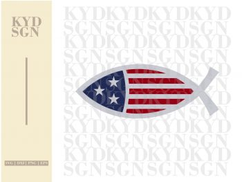 Christian Fish USA Flag SVG