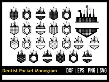 Dentist Pocket SVG Cut File Monogram