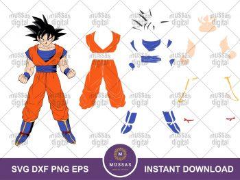 Dragon Ball Z Goku SVG Layered