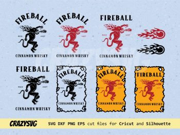 Fireball Cinnamon Whiskey Labels SVG