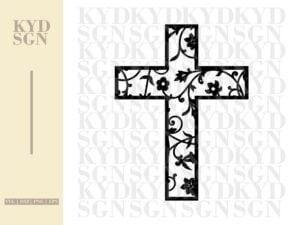 Floral Cross SVG
