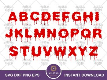 Font Alphabets Drips Bloody SVG
