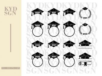 Graduation Hat SVG Monogram