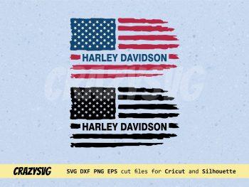 Harley Davidson American Flag Distressed SVG
