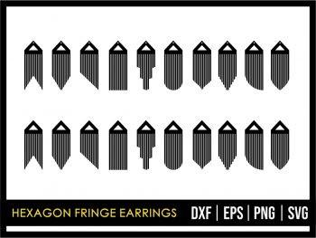 Hexagon Fringe Earrings Template SVG