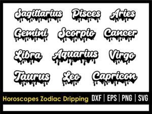 Horoscopes Zodiac Dripping Design SVG