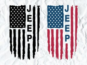 Jeep American Flag Distressed SVG