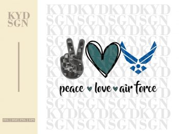 Peace Love Air Force SVG
