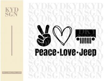 Peace Love Jeep SVG