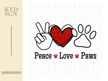 Peace Love Paws SVG