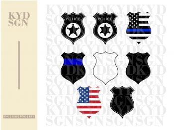 Police Badge Outline Bundle SVG