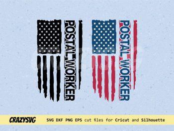 Postal Worker American Flag Distressed SVG
