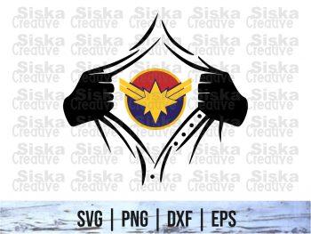 Rip Tear Shirt Superhero Captain Marvel SVG