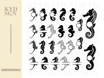 Seahorse SVG Monogram