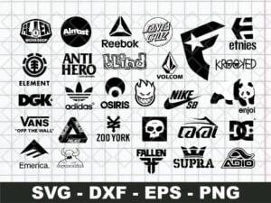 Skateboard Brands Logos SVG Bundle