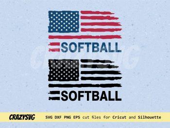 Softball American Flag Distressed SVG