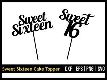 Sweet Sixteen Cake Topper SVG