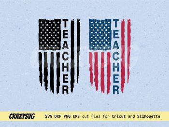 Teacher American Flag Distressed SVG