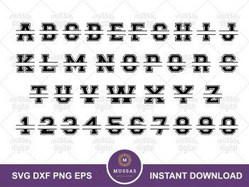 Varsity Collegiate Split Monogram Alphabet SVG