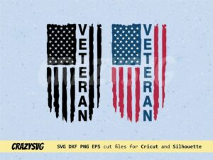 Veteran American Flag Distressed SVG