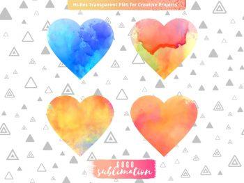 Watercolor Heart Love Sublimation Designs