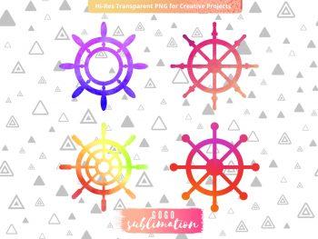 Watercolor Ships Wheel Sublimation Designs