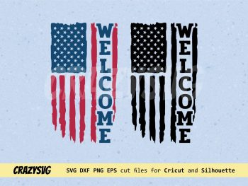 Welcome American Flag Distressed SVG