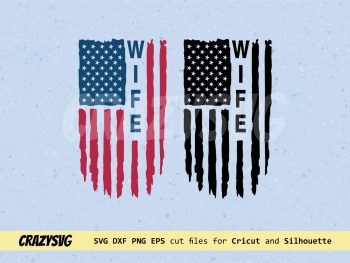 Wife American Flag Distressed SVG
