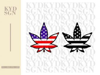 American Flag with Marijuana Cannabis SVG Cricut Silhouette Cameo Clipart