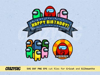 Among Us Cake Topper Happy Birthday