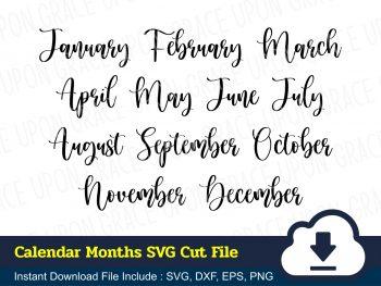 Calendar Months SVG Cut File