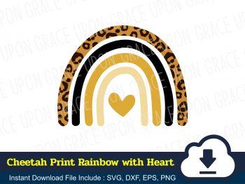 Cheetah Print Rainbow with Heart SVG