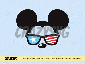 Cool Mickey Mouse American Flag Sunglasses Cut File