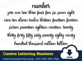 Cursive Lettering Numbers SVG