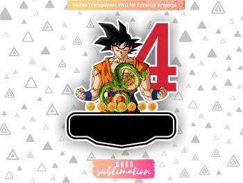 Dragon Ball Z Birthday Number 4 Cake Topper Printable