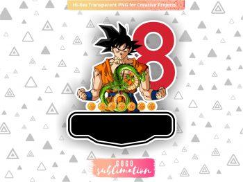 Dragon Ball Z Birthday Number 8 Cake Topper Printable