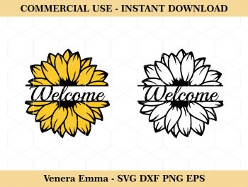 Floral Welcome Sign Sunflower SVG Cut Files