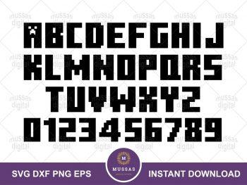 Gamer Minecraft Font Alphabets Number SVG