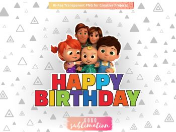 Happy Birthday Cocomelon Cake Topper PNG Printable