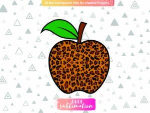Leopard Apple Sublimation Design