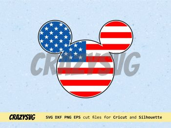 Mickey Mouse American Flag Cut File