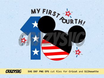 Mickey Mouse My First Fourth of July Cut File