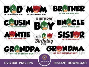 PJ Mask Birthday Bundle SVG