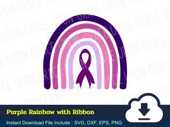 Purple Rainbow with Ribbon SVG