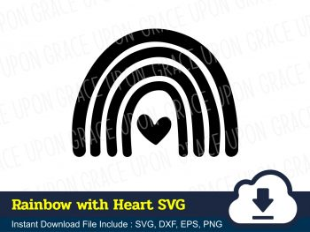 Rainbow with Heart SVG Cut File