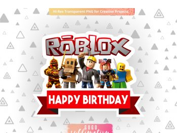 Roblox Happy Birthday Cake Topper PNG Printable