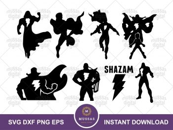 Shazam Vector SVG DC Heroes DXF