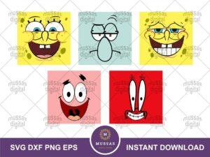 SpongeBob Faces Cricut SVG