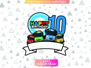 Tayo Birthday Number 10 Cake Topper Printable