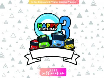 Tayo Birthday Number 3 Cake Topper Printable